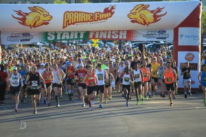 We printed a number of banners for the recent Prairie Fire Half Marathon, held on May 4th. You can even see our sponsor banner hanging on the Start/Finish line!
