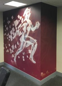 These graphics were installed in a hotel gym. They really brighten up the room!